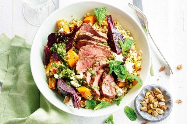 For the perfect spring dinner serve up this flavoursome lamb, beetroot, pumpkin and barley salad.