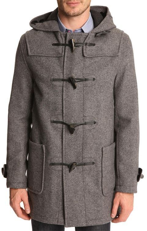 $522, Grey Duffle Coat: Gloverall Mid Grey Duffle Coat With Chevron Patterning. Sold by Menlook. Click for more info: http://lookastic.com/men/shop_items/18253/redirect