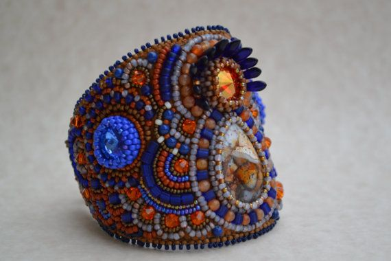 Bead Embroidered Bracelet Bead Embroidered Cuff by corporateschmad, $150.00