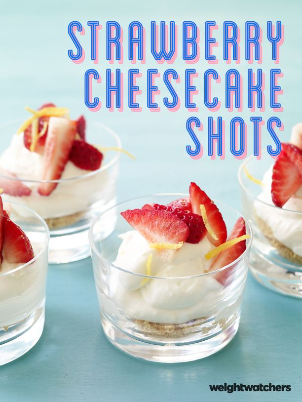 Did someone say no-bake cheesecake? These too cute Strawberry Cheesecake Shots are so delicious and ready in less than 30 minutes! 4 SmartPoints