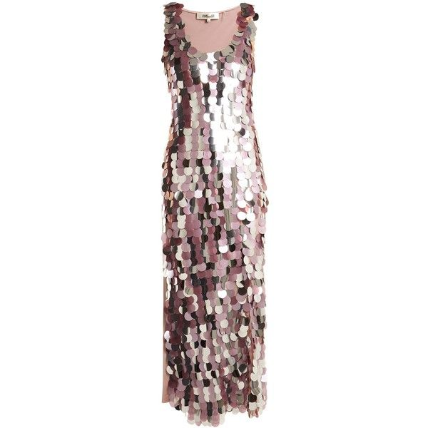 Diane Von Furstenberg Embellished sleeveless silk dress ($1,545) ❤ liked on Polyvore featuring dresses, silver, rose dress, pink silk dress, sequin dress, metallic dress and dusty pink dress