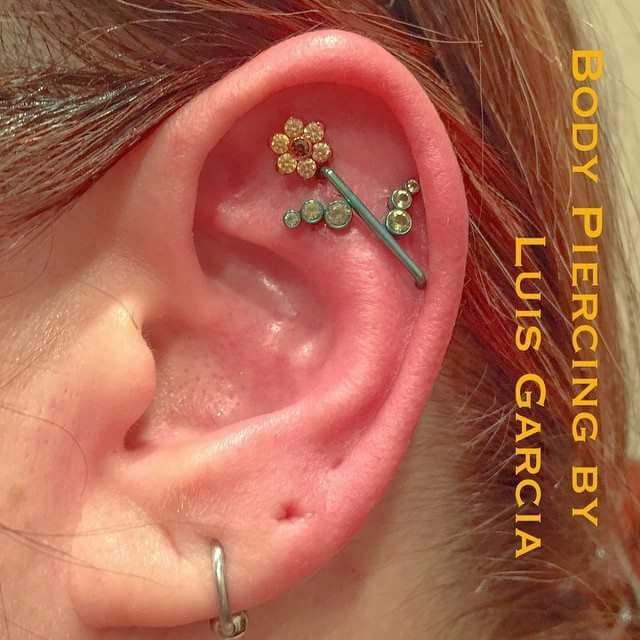 Flower Tattoo With Dermal Piercing: 75 Best Ear Piercings Images On Pinterest