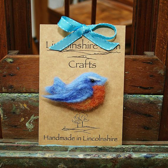 Blue Robin Brooch  Felt bird brooch  bird jewellery  gift