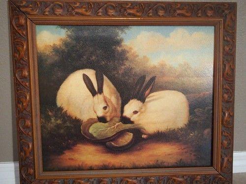 P Rolence Textured Print Rabbits Eating Lettuce Framed Art