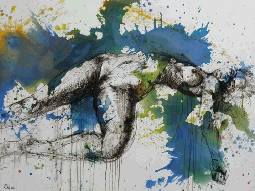 Craig Ruddy, Submission, plaster on canvas, acrylic and ink on glass
