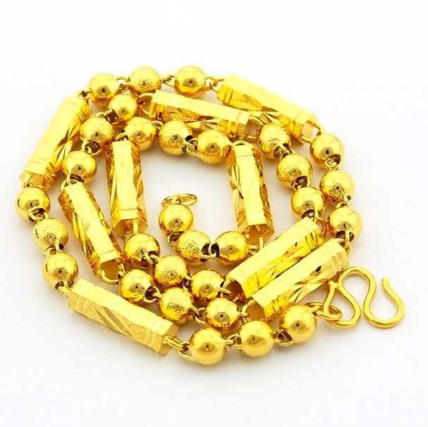 Новое поступление мода 24 К GP позолоченные ожерелье мужская и женская желтое золото золотые украшения ожерелье бесплатная доставка YHDN053