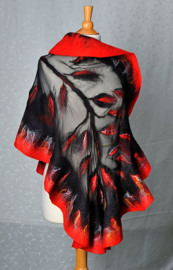 Nuno felted shawl / wrap / merino wool / mulberry by ArtInTouch, $150.00