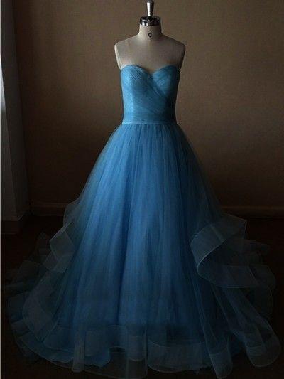 blue prom dress, long prom dress,sweetheart prom dress, charming prom dress, puffy prom dress, party dress, E4327