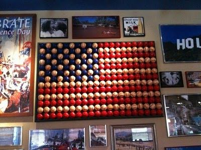 Made out of baseballs.  I want to find something else to make it with. But, I LOVE the look. It will go PERFECTLY on my wall.