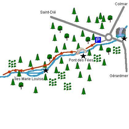 Pont des Fées et Perles de Vologne - Carte de la balade