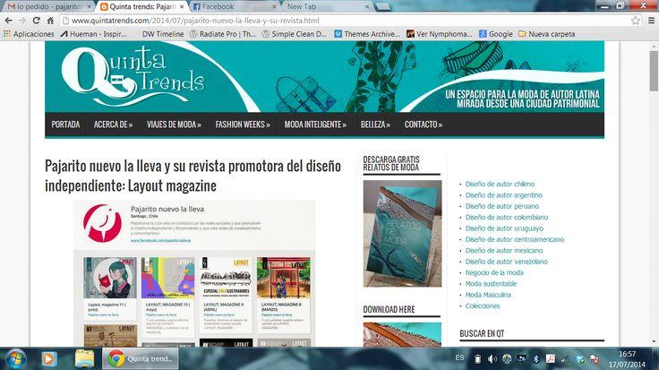 Queremos agradecer al portal de moda de autor latinoamericana Quinta Trends por el reportaje que nos realizaron y a la revista.  Muchas gracias y a compartir la nota !!  http://www.quintatrends.com/2014/07/pajarito-nuevo-la-lleva-y-su-revista.html