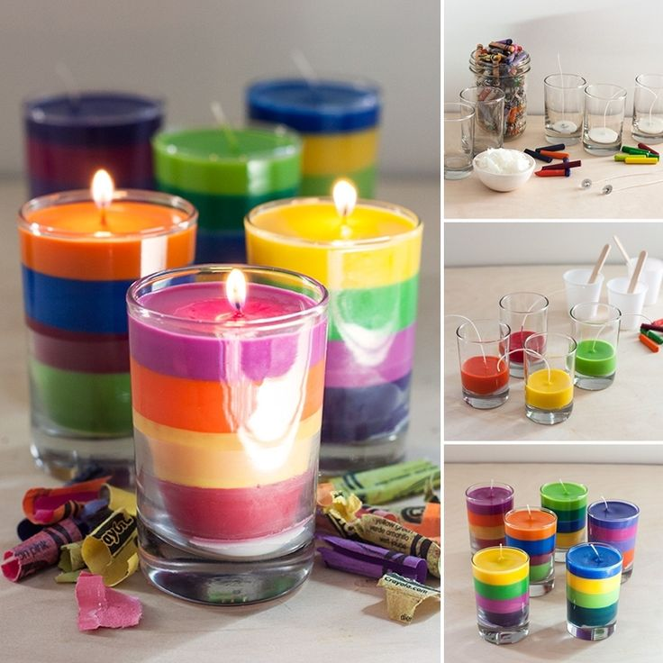 Re-Purpose Old Crayons into These Vibrant Layered Candles - http://www.amazinginteriordesign.com/re-purpose-old-crayons-vibrant-layered-candles/