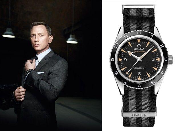 James Bond star Daniel Craig wears an Omega Seamaster 300 in the 2015 film Spectre.