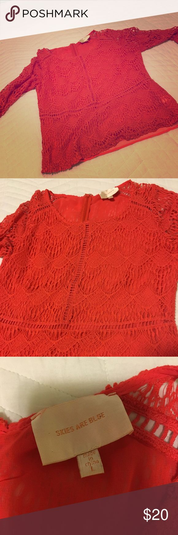Coral Lace 3/4 sleeve shirt - Worn 2x - L Super cute lace coral shirt. Looks great wth jeans! Has a built in tank top liner. Size large. Got it in a stitch fix box for $58. Loved it but too big :( Tops Blouses