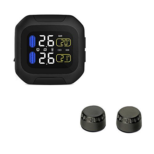 Motorcycle TPMS Tire Pressure Monitoring System with Wireless Waterproof Motorcycle TPMS USB Power LCD display. For product info go to:  https://www.caraccessoriesonlinemarket.com/motorcycle-tpms-tire-pressure-monitoring-system-with-wireless-waterproof-motorcycle-tpms-usb-power-lcd-display/