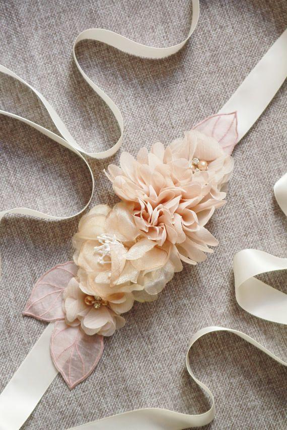 Wedding Sash Belt Bridal Dress Sashes Belts  Tan Nude Taupe