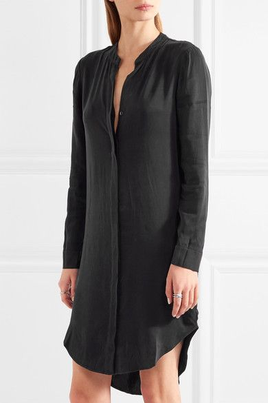 Black crepe de chine Concealed button fastenings through front 59% cupro, 41% rayon Dry clean