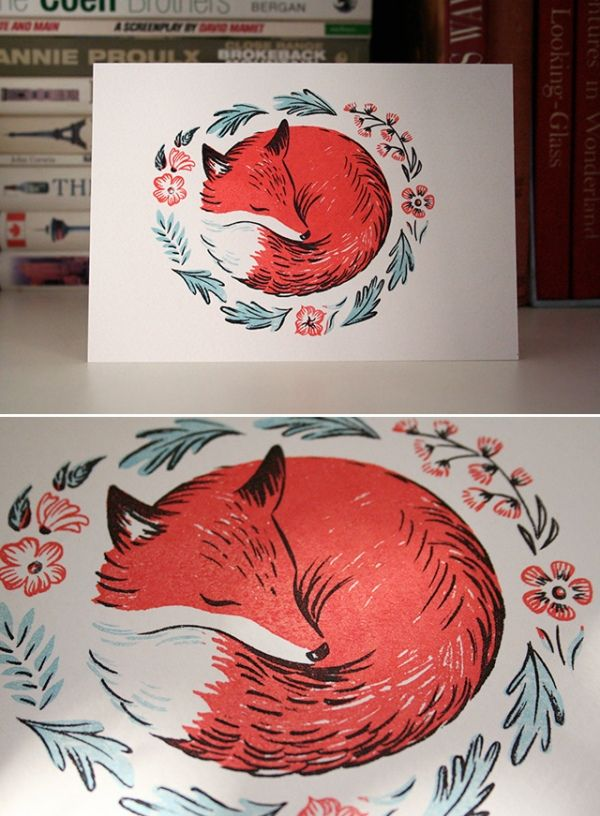 I love this little fox - there is something about him that reminds me of a book that my grandmother had at her house when I was a kid.  I'm certain it was the colours, and I think the style is similar too.  Of course, I can't remember any specifics about the book at all and this cute little picture just creates those haunting memories of something you can't quite remember.