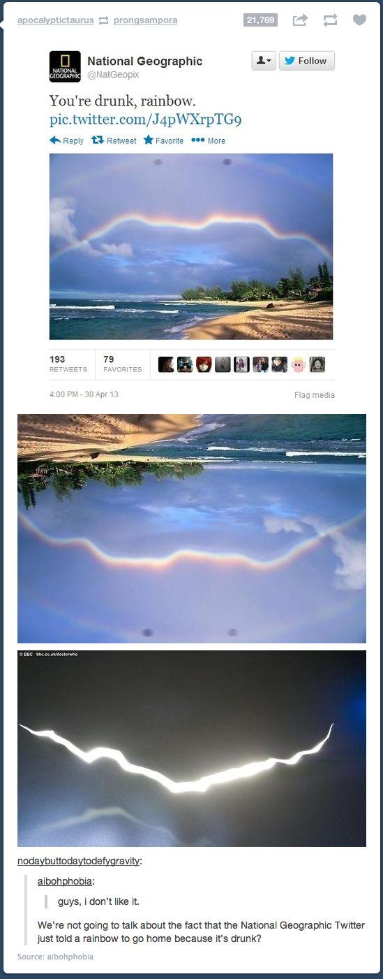 It's not a rainbow, people!! It is a freaking time rift.