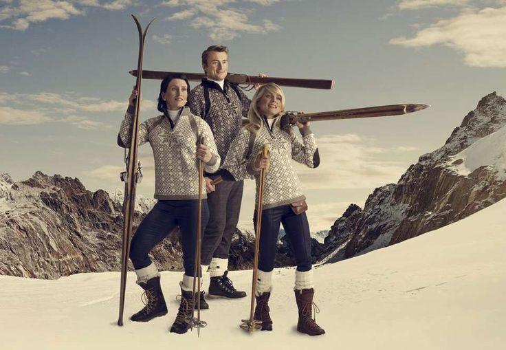 ÅRETS VM-GENSER: Marit Bjørgen, Petter Northug og Therese Johaug fronter årets VM-genser fra Dale of Norway.
