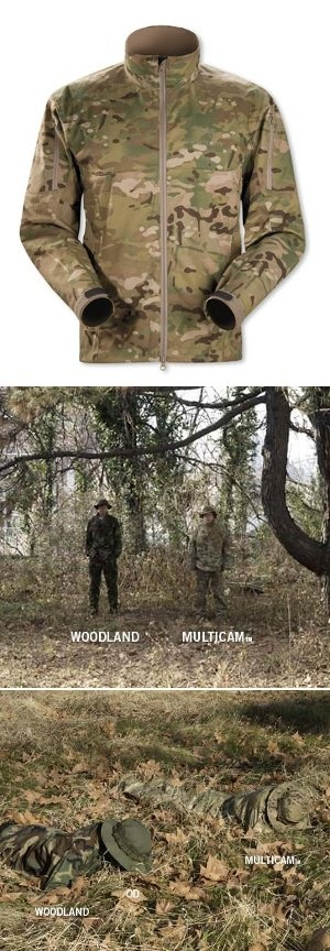 """Lovin' this Multicam Arc'teryx Combat Jacket.. Combines athletic cut and breathability.. with the a camouflage pattern that really blends you into the landscape.. Check the comparisons with """"Multicam"""" vs. traditional """"Woodland"""" pattern below.. Huge difference.."""