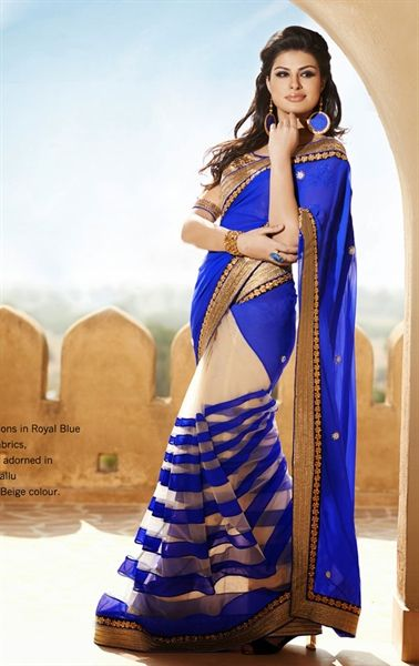 Splendorous Beige and Royal Blue Saree with Blouse