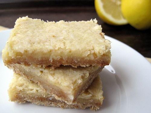 Yum! Sugar-free and dairy-free Lemon-Coconut Bars!