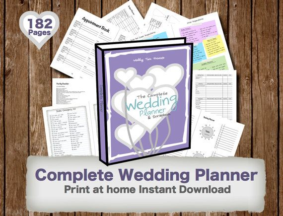 Printable Wedding Planner Book Organizer Checklists Guides And Worksheets The Complete Scrapbook Print At Home