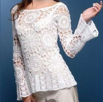 White Boatneck Long Flare Sleeve Top with Round Motif free crochet graph pattern