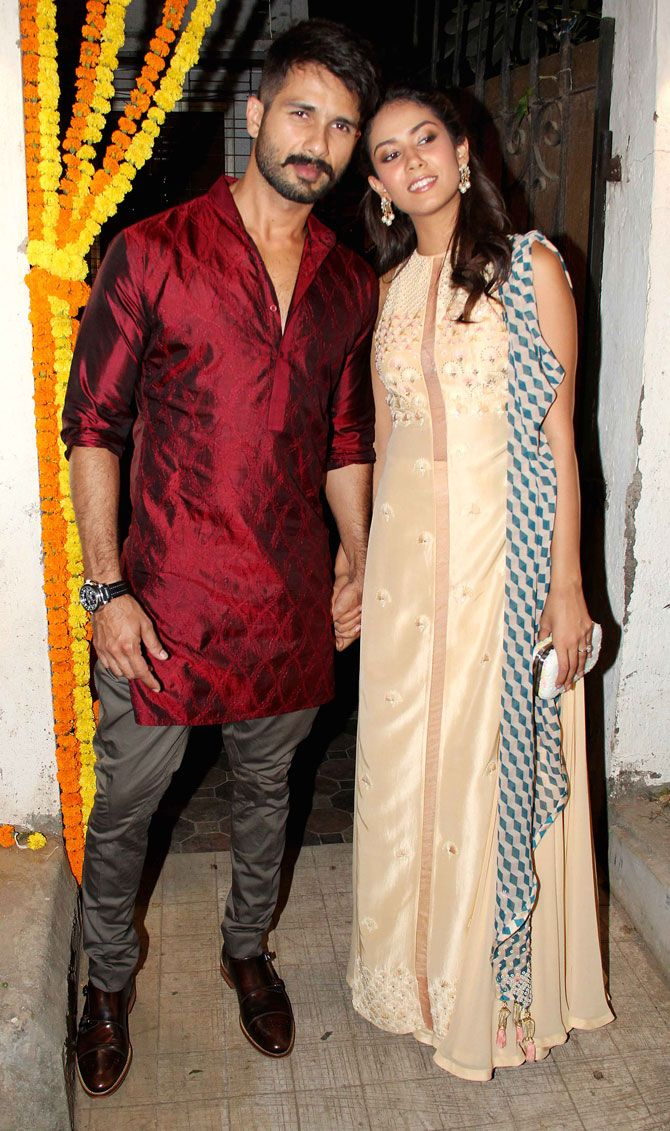 Shahid Kapoor and Mira Rajput at Masaba Gupta's mehendi ceremony. #Bollywood #Fashion #Style #Beauty #Handsome #Desi