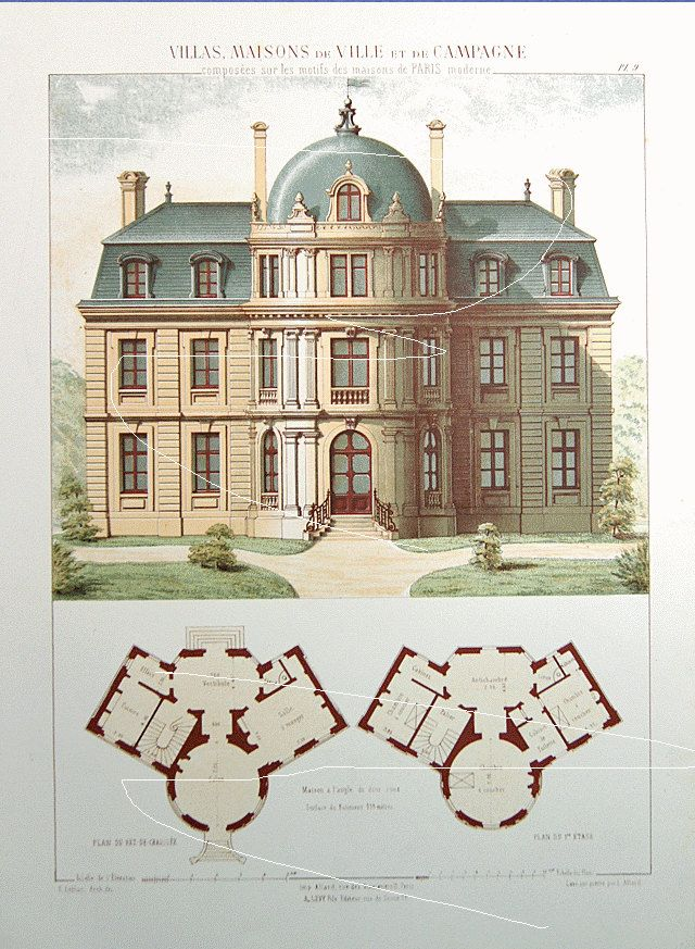 Antique Architectural Print Architecture 1864 by Printvilla4you