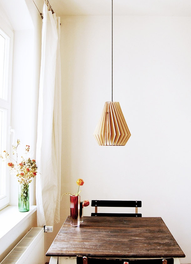 Hector  - wooden hanging lamp. €95,00, via Etsy.