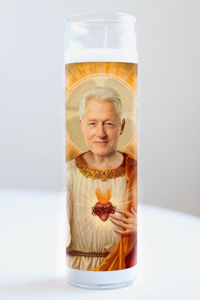 """Bill Clinton  Saint Bill Clinton featured on Illuminidol's Texas-made 8"""" prayer candle. The most divine way to bless any Clinton disciple!  Texas Made 8"""" in height Unscented Ships anywhere in the US via Priority Mail International Shipping? Please contact info@illuminidol.com Custom and Wholesale options available  #billclinton #clinton #president #hillaryclinton #hillary #vote #america #usa #celeb #celebrity #prayer #candle #prayercandle #lit #fire #funny #laugh #lol #austin #texas #local"""