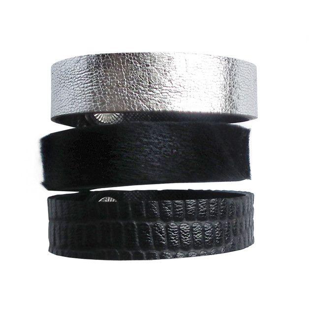 Komplet trzech bransoletek skórzanych czerń srebro - Mikashka - Bransoletki skórzane