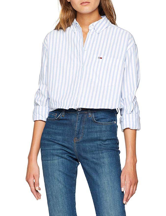9a8aa7f9 Hilfiger Denim Women's Tjw Tommy Classics Stripe Shirt Blouse, White  (Bright White/Light