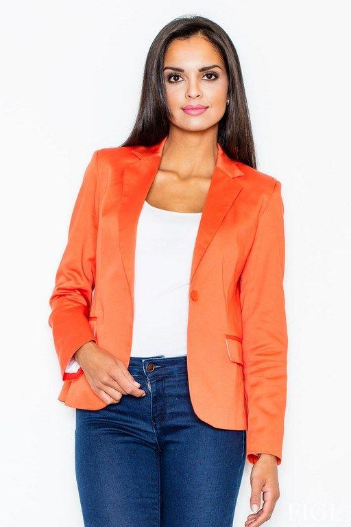 Pomarańczowy żakiet damski o dopasowanym fasonie