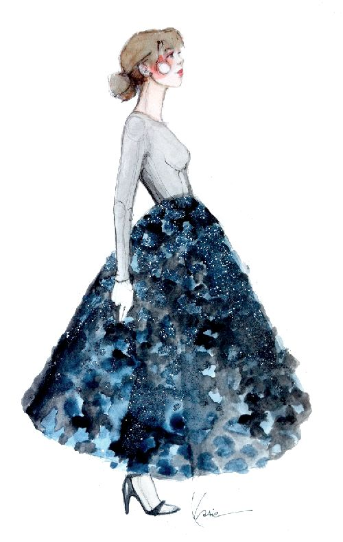 Dior Blue, watercolor illustration by Katie Rodgers