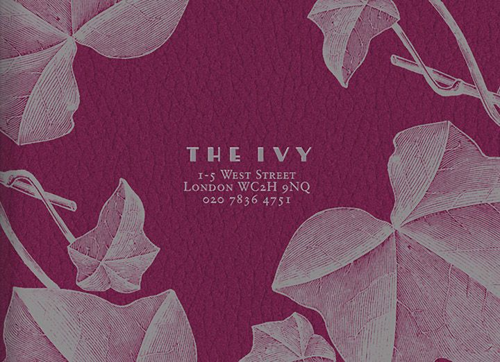 The Ivy menu by United Creatives branding