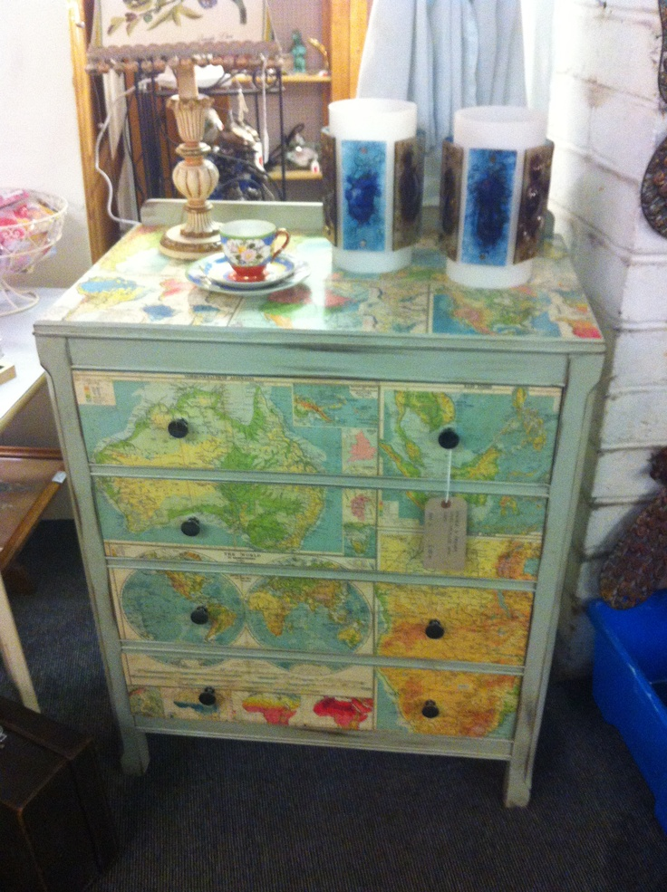 Found this beautiful piece of furniture in Brighton- Upcycled chest of drawers, recovered in maps.