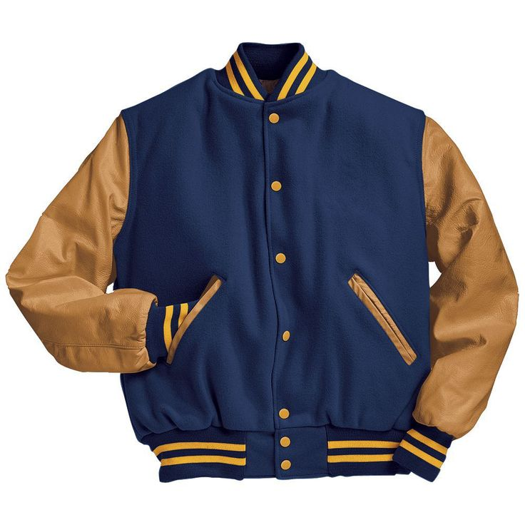 Royal Blue and Light Gold Varsity Letterman Jacket Black and Light Gold Varsity Letterman Jacket from Mount Olympus Awards.  Genuine leather sleeves and trim with premium melton wool body.  Typically ships in 24 to 48 hours unless customized with embroidery or letterman jacket patches such as a varsity letter.