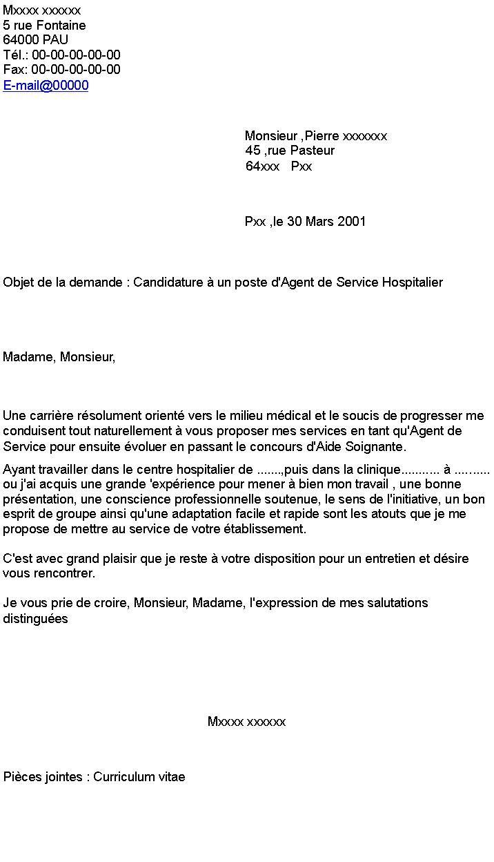 42 Agent De Service Hospitalier Lettre De Motivation Lettre De Motivation Modeles De Lettres Lettre De Motivation Emploi