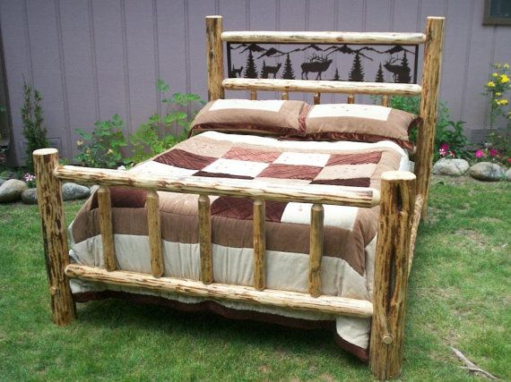Twin size complete rustic iron style pine log bed frame w wildlife - Adirondack bed frame ...