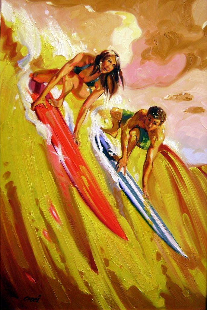 DEUCES WILD ~ #art by Ron Croci #surfart