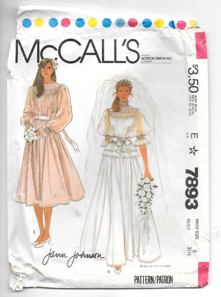 McCall's Pattern 7893 Vintage 1980's Jann Johnson Wedding Gown, Bridesmaid Dress with Smocking Transfers by SinclairsStuff on Etsy