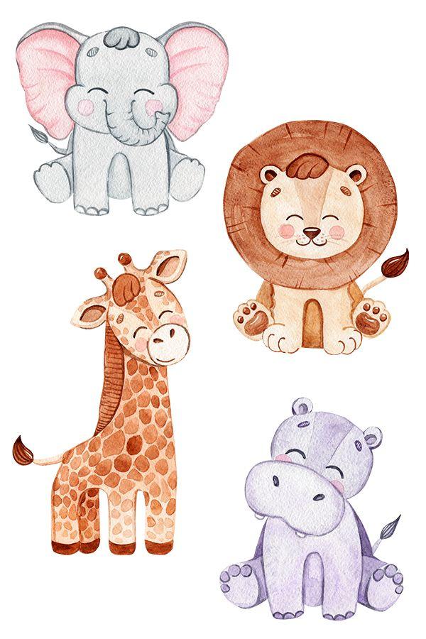 Wild Animals Watercolor Clipart Baby Art Nursery Animal Prints Baby Scrapbook Album