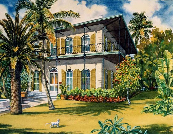 Key+west+art | Hemingway houses in Key West, art by George K. Salhofer