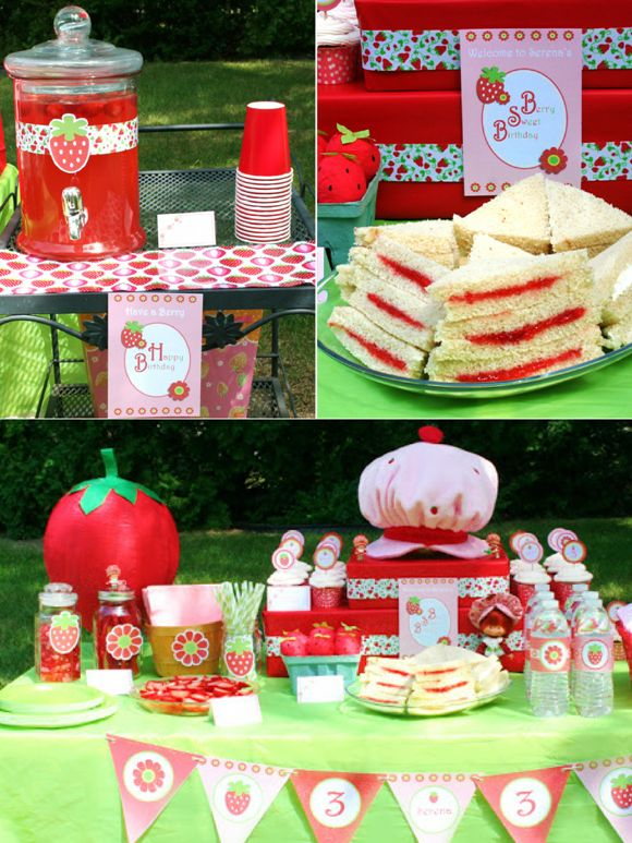 Strawberry Shortcake Birthday Party + 3 Strawberry Party Tutorials | PARTY BLOG by BirdsParty|Printables|Parties|DIYCrafts|Recipes|Ideas