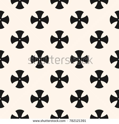 Simple floral pattern. Vector minimalist seamless texture with cross shapes. Abstract minimal geometric black and white background. Retro style repeat design for textile, decoration, wallpapers, print