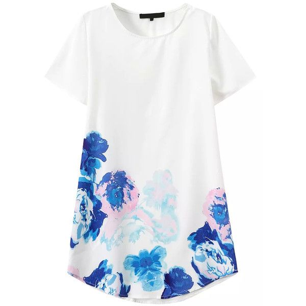 Romwe Short Sleeve Flower Print Shift Dress (285 UAH) ❤ liked on Polyvore featuring dresses, tops, vestidos, white, print dress, floral print dress, white shift dress, short prom dresses and short dresses