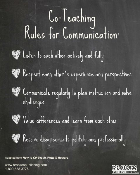 Co-teaching Rules for Communication. Helpful advice! #teaching
